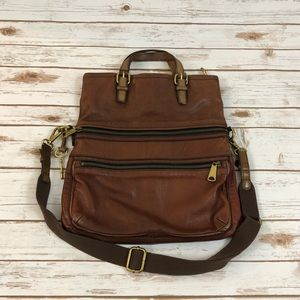 Fossil Brown Leather Explorer Tote